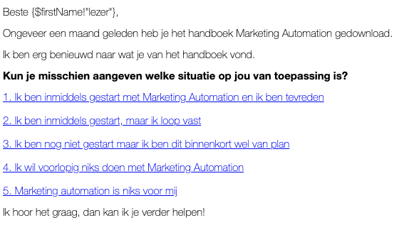 Lead situatie bepalen in e-mail